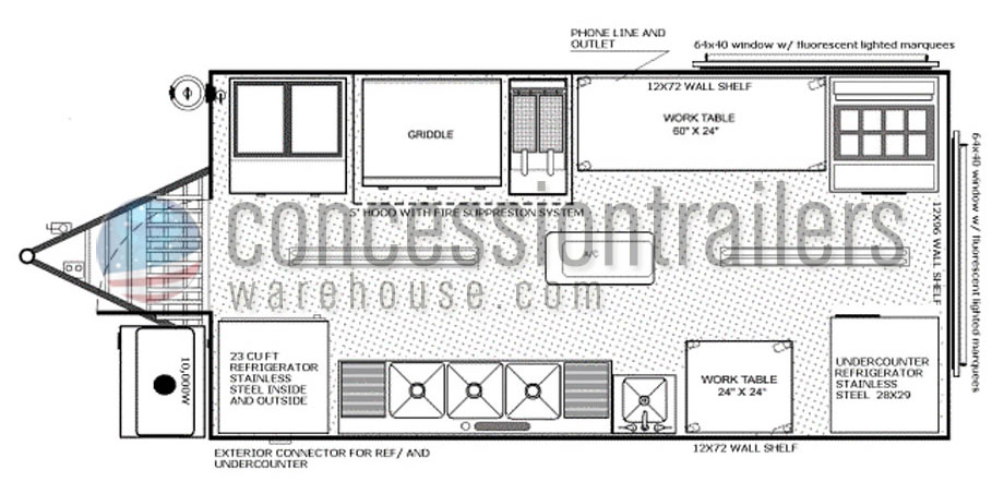 8x16 floor plans shop custom food trucks concession for Food truck layout plans