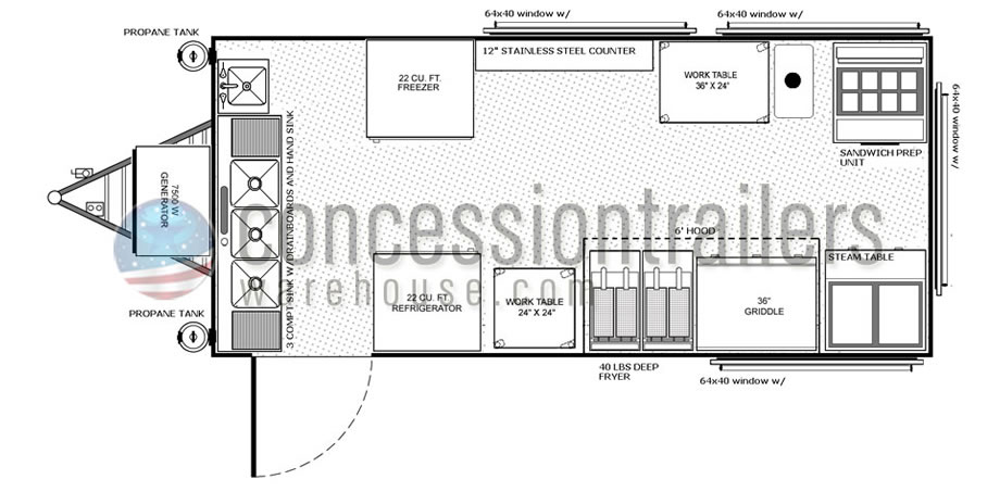 8x18 floor plans shop custom food trucks concession for Food truck layout plans