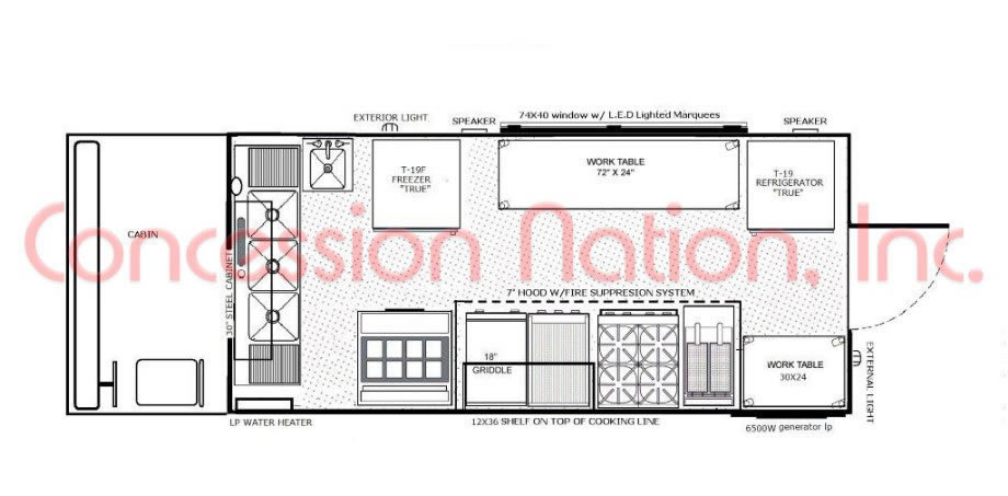Blueprints food trucks images for Food truck layout plans